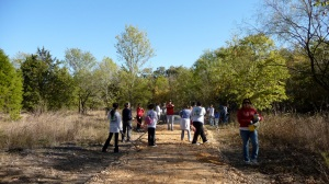 Picture of trail building from the big volunteer day on Nov 8, 2009.